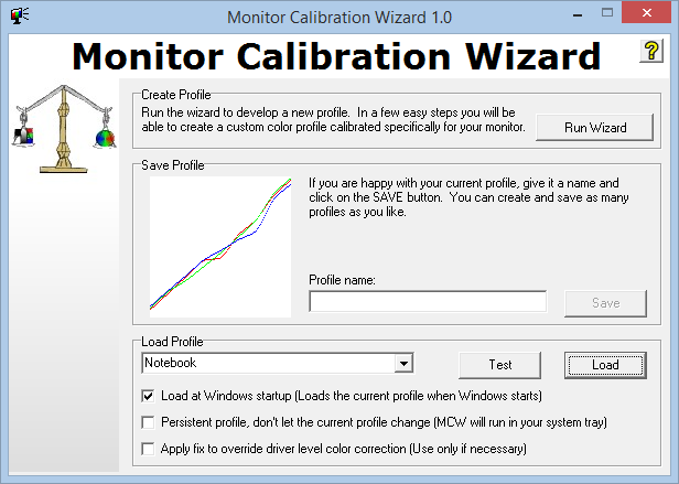 Laden des Profils mit dem Monitor Calibration Wizard